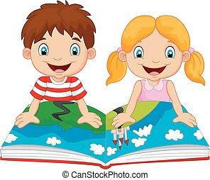 garçon, dessin animé, girl, lectures