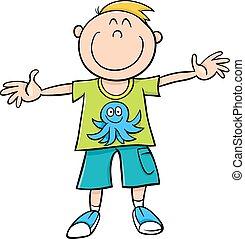 garçon, dessin animé, illustration, heureux