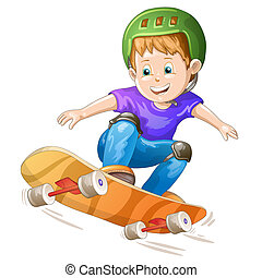 garçon, dessin animé, patineur