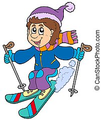 garçon, dessin animé, ski