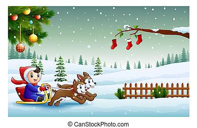 garçon, deux, chiens traîneau, équitation, dessin animé, tiré, descendant