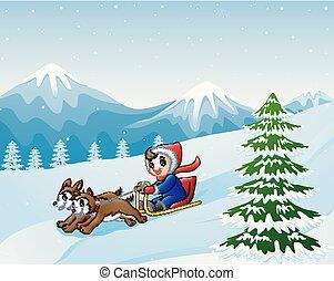 garçon, deux, neige, bas, dessin animé, tiré, chiens, sledding