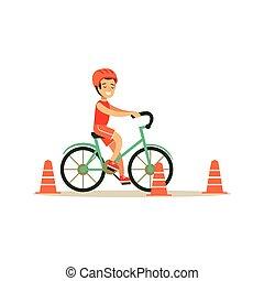 garçon, différent, pratiquer, activités, vélo, sports, gosse, équitation, education, classe, physique