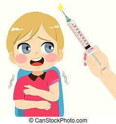 garçon, effrayé, injection