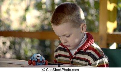 garçon, extérieur, jeux, intelligent, téléphone