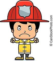 garçon, fâché, pompier, dessin animé
