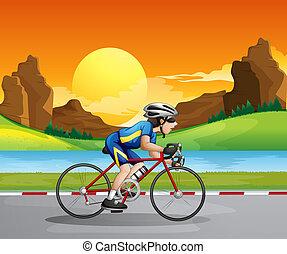 garçon, faire vélo