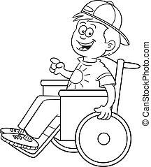 garçon, fauteuil roulant