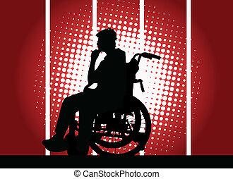 garçon, fauteuil roulant, jeune