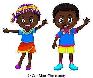 garçon, fille souriant, africaine