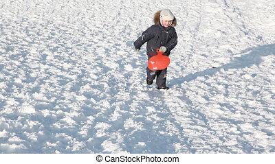 garçon, finitions, neigeux, montées, traîneau, chutes, colline, ascensions, montée