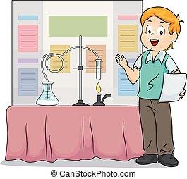 garçon, foire, science, illustration, présentation, gosse