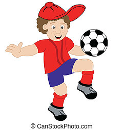 garçon, football, dessin animé, jouer