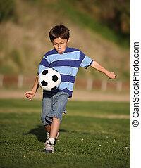 garçon, football, latino, jeu boule