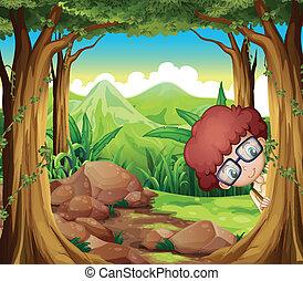 garçon, forêt, dissimulation