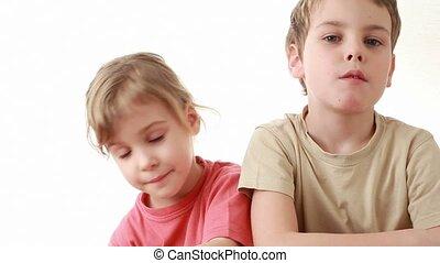 garçon, formulaire, coeur, balloon, t-shirt, beige, girl, donne