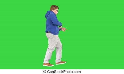 garçon, frais, marche, vert, chroma, lunettes soleil, danse, key., écran