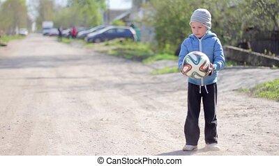 garçon, gamed, football., football, jouer, gosse