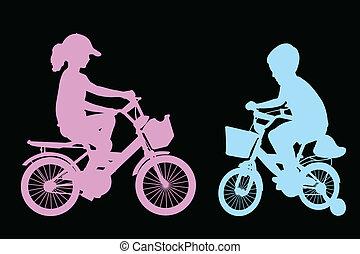 garçon, girl, bicycles, équitation