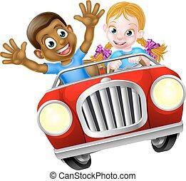 garçon, girl, dessin animé, voiture