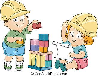 garçon, girl, enfantqui commence à marcher, ingénieurs