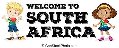 garçon, girl, salutation, sud-africain