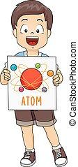 garçon, gosse, illustration, atome