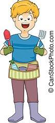 garçon, gosse, outils, illustration, ceinture