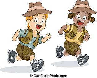 garçon, gosses, courant, aventure, safari, girl