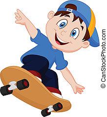 garçon, heureux, dessin animé, skateboard