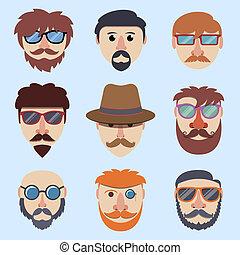 garçon, hipster, faces
