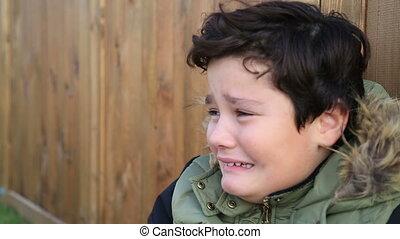 garçon, hiver, triste, chaud, pleurer, portrait, vêtements
