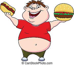 garçon, hot-dog, graisse, hamburger