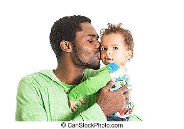 garçon, il, noir, caresser, isolé, enfant, blanc, père, amour, bébé, usage, heureux, parenting, ou, concept