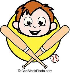 garçon, illustration, figure, vecteur, base-ball, dessin animé