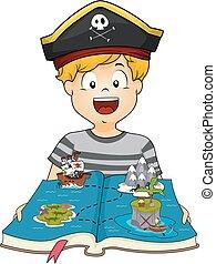 garçon, illustration, livre, gosse, pirate, géographie