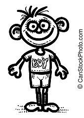 garçon, image, dessin animé, icon., symbole, homme