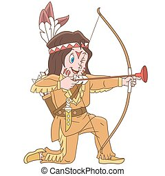garçon, indien amérique, dessin animé, indigène