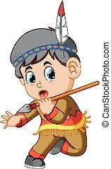 garçon, indien amérique, tenue, lance