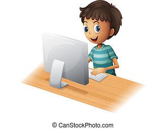 garçon, informatique, jouer