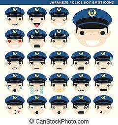 garçon, japonaise, police, emoticons