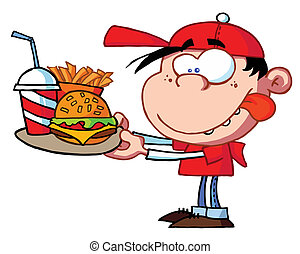 garçon, jeûne, nourriture mangeant