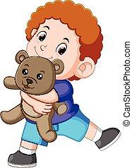 garçon, jeu, teddy, gris, ours, heureux