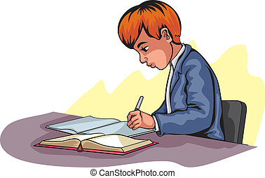 garçon, jeune, écriture