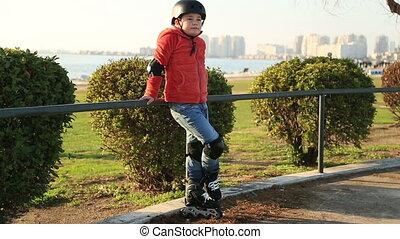garçon, jeune, patineur, portrait