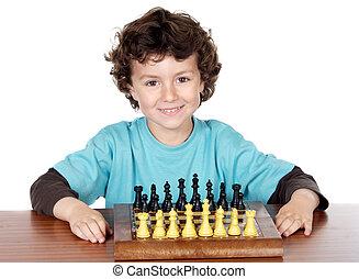 garçon, jouant échecs