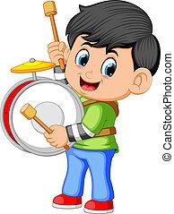 garçon, jouer joue tambour, grand
