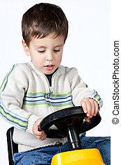 garçon, jouet, conduite, voiture