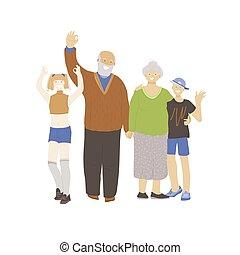 garçon, joyeux, plus vieux, deux, girl, tenue, génération, grand-mère, grand-père, bonne disposition, pouce, signe., onduler, parents, famille, mains, adolescents, différent, projection, heureux, ok, concept