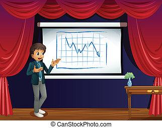 garçon, ligne, étape, présentation, graphique